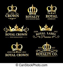 Vector crown logos set. Luxury corona monograms design. ...