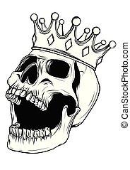 vector, crown., rey, mano, dibujado, ilustración, cráneo, llevando