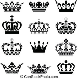 Vector Crown Set - Set of 12 Crown Illustrations. Every...