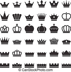 Vector crowns icons set
