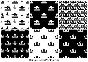 Vector crowns seamless patterns set in black and white