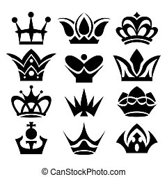 Vector crowns isolated on white background.