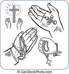 vector, cruces, -, illustration., manos