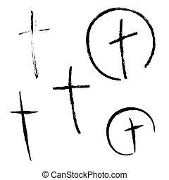 Vector crucifix cross. - Vector set crucifix cross hand...