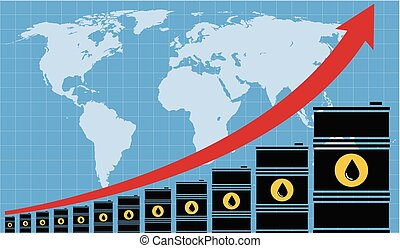 vector crude oil price financial chart with world map