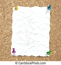 Vector crumpled paper sheet with pin on cork background