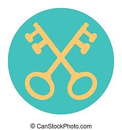 vector, cruz, Ilustración, llaves