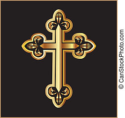 vector, cruz, oro, cristianismo