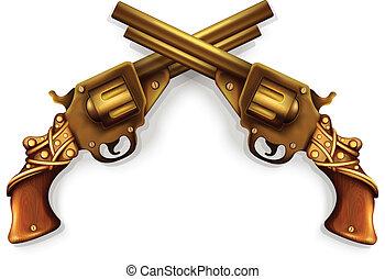 vector, cruzado, revólveres