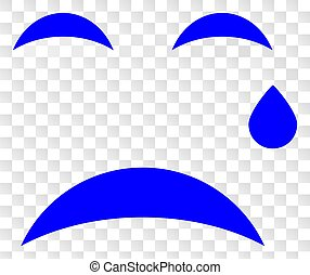 Vector Crying Smiley Icon on Chess Transparent Background