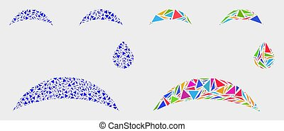Vector Crying Smiley Mosaic Icon of Triangle Items
