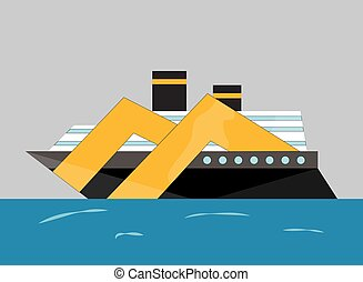 Vector cryise liner icon. Ship at sea transport, shipping boat