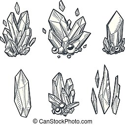 Set of hand drawn vector crystals. Sketchy minerals isolated on white.