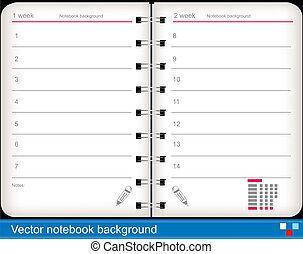 vector, cuaderno, plano de fondo