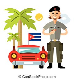 Vector Cuba Travel Concept. Flat style colorful Cartoon illustration.
