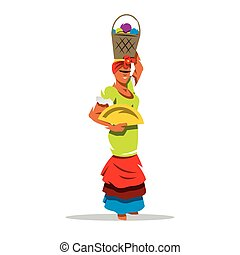 Vector Cuban Woman Cartoon Illustration. - Attractive woman...