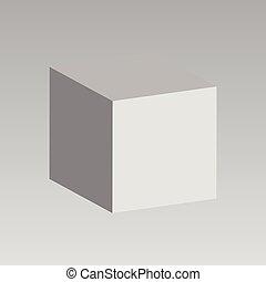 Vector cube. 3D White