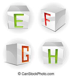 Vector cube alphabet letters E,F,G,H