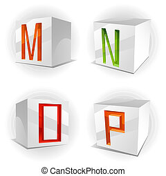 Vector cube alphabet letters M,N,O,P