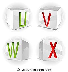 Vector cube alphabet letters U,V,W,X