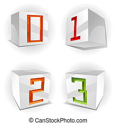 Vector cube alphabet numbers 0,1,2,3