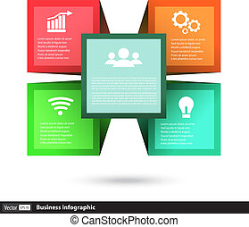 Vector cube box for business concepts with icons