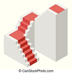 Vector cube shape evoking the ascending staircase with red carpet