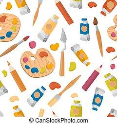 vector, cuchillo, en línea, caballete, cepillos, dibujo, pinturas, paleta, arte, creativity., arte, educación, lápices, paleta, diseñar, cursos, móvil, seamless, graphics., estudio, patrón, tutorial, plano, tela