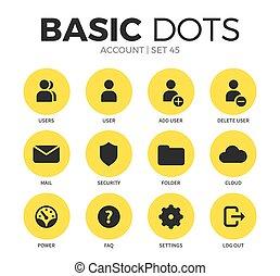 vector, cuenta, iconos, conjunto, plano