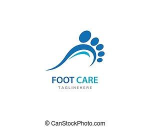 vector, cuidado, pie, logotipo, ilustration