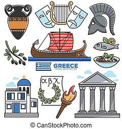 vector, cultura, turismo, señales, iconos, viaje, grecia
