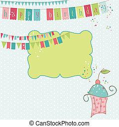 vector, -, cumpleaños, diseño, retro, álbum de recortes, invitación, elementos, celebración