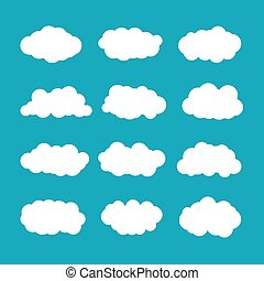 Vector cumulus clouds set in flat style
