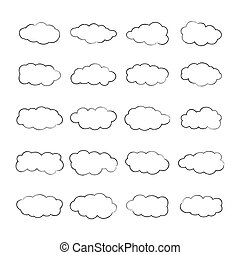 Vector cumulus clouds set in outline style