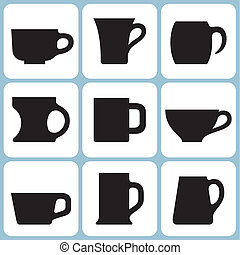 Cup and Mug Set - Vector Cup and Mug Set