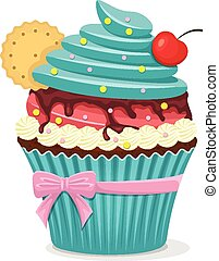 Vector cup cake with cherry