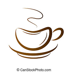 Vector Cup Of Coffee - Vector Cup Of Hot Coffee On A White...