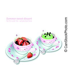 Vector Cupcake and chocolate strawberry mousse in a mug. Summer delicious desserts