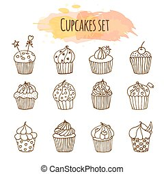 Vector cupcake illustration. Set of 12 cute hand drawn cupcakes. Doodle cakes with cream and berries.