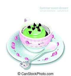 Vector Cupcake in a mug. Summer delicious desserts