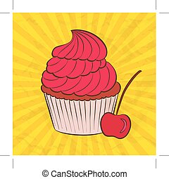 vector cupcake in doodle style
