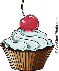 Vector cupcake isolated on white. Hand drawn sketch