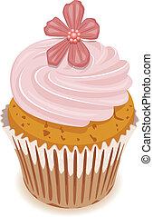 vector, cupcake, met, een, bloem