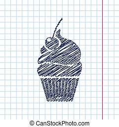 Vector cupcake with cherry icon. Eps10