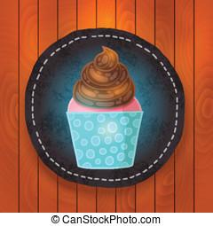 vector cupcake with chocolate cream.