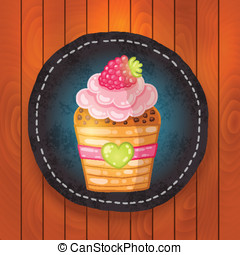 vector cupcake with chocolate, raspberry