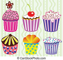 vector cupcakes - various vector cupcakes set illustration