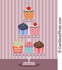 vector, cupcakes, op, een, stander