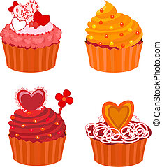 vector cupcakes set