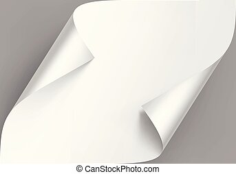 Vector Curled Corners of White Paper with Shadow Mock up Close up Isolated on Gray Background